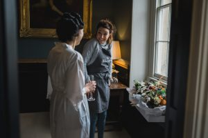 the rose shed delivering flowers Elmore court wedding photographer