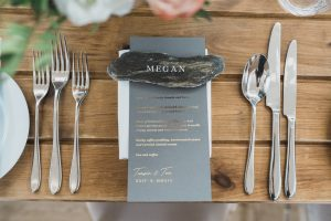 flat lay rock name setting Elmore court wedding