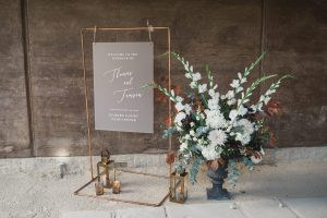 wedding sign and flowers Elmore court wedding photographer