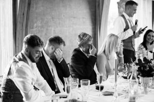 groomsmen crying Elmore court wedding photography