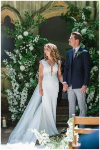 bride and groom Barnsley House wedding photographer