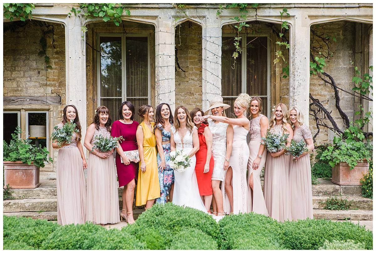 hen do party posing for gloucestershire wedding photographer at Barnsley House
