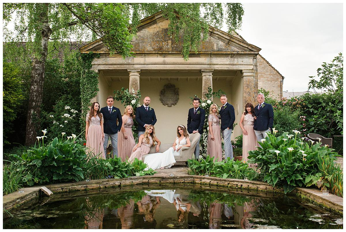 Barnsley House bridal party the temple