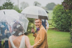 first look in rain Somerset wedding photographer
