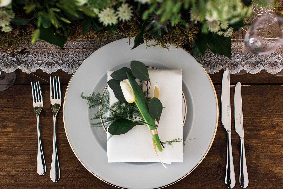 tulip on plate Cowley Manor wild and co photography