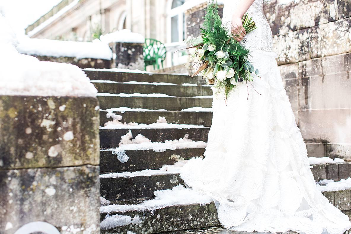 bride in winter at Cowley Manor