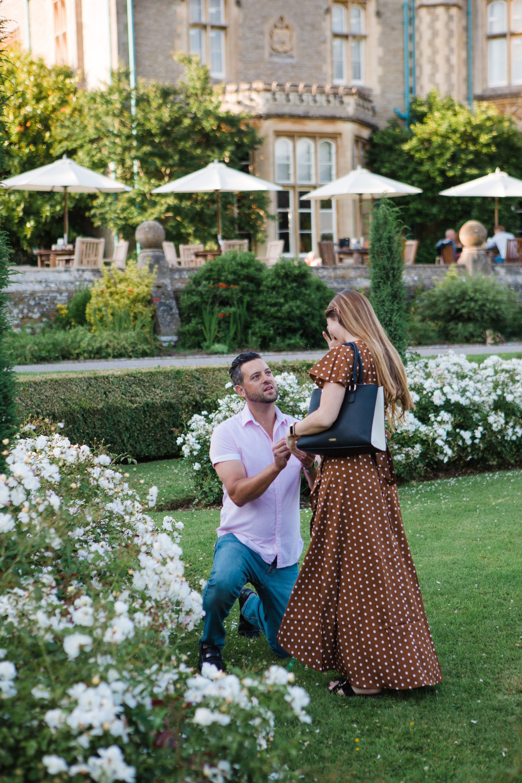 American man proposing at Tortworth court surprise proposal