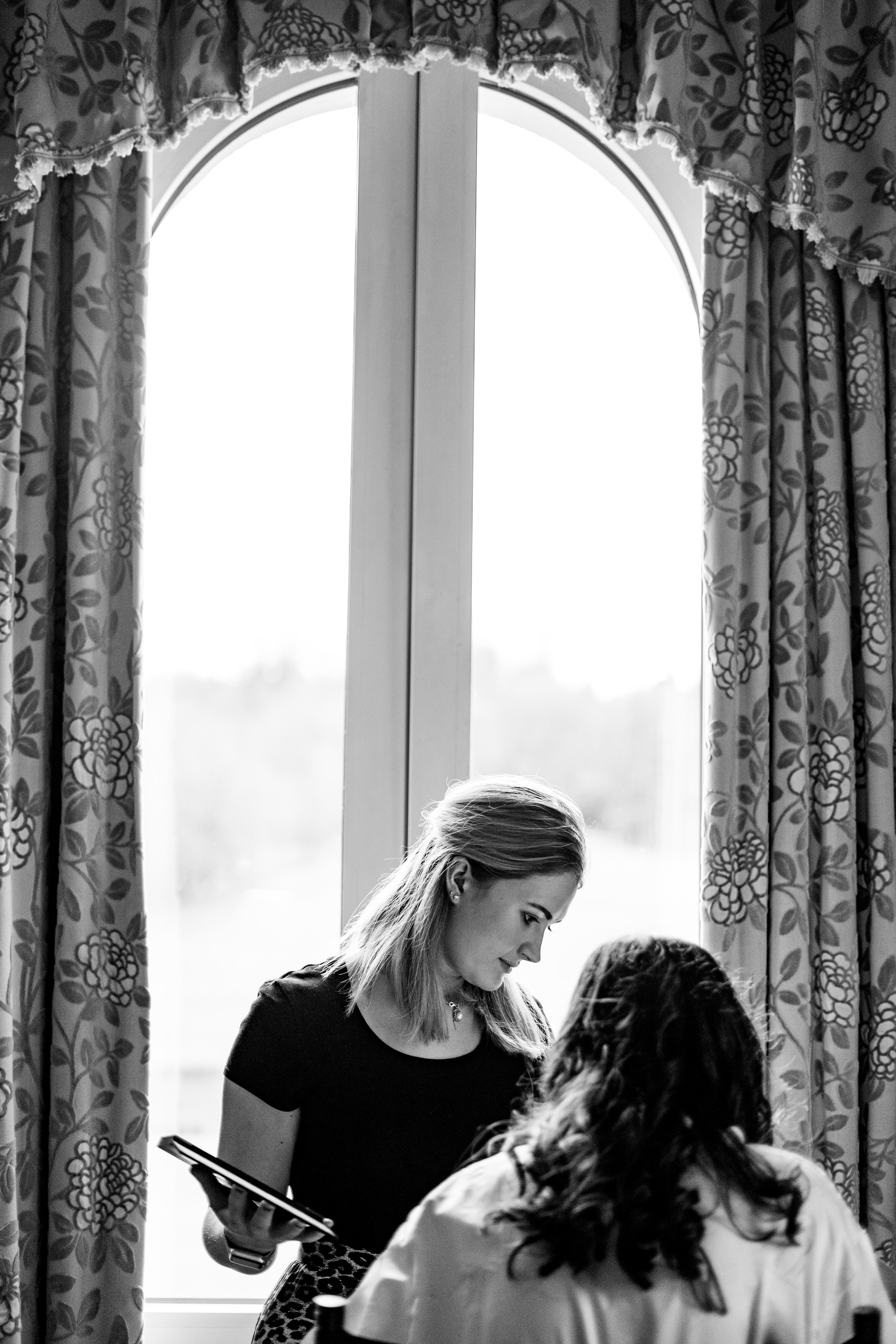 bowood hotel wedding make up being applied to bride Wiltshire photographer