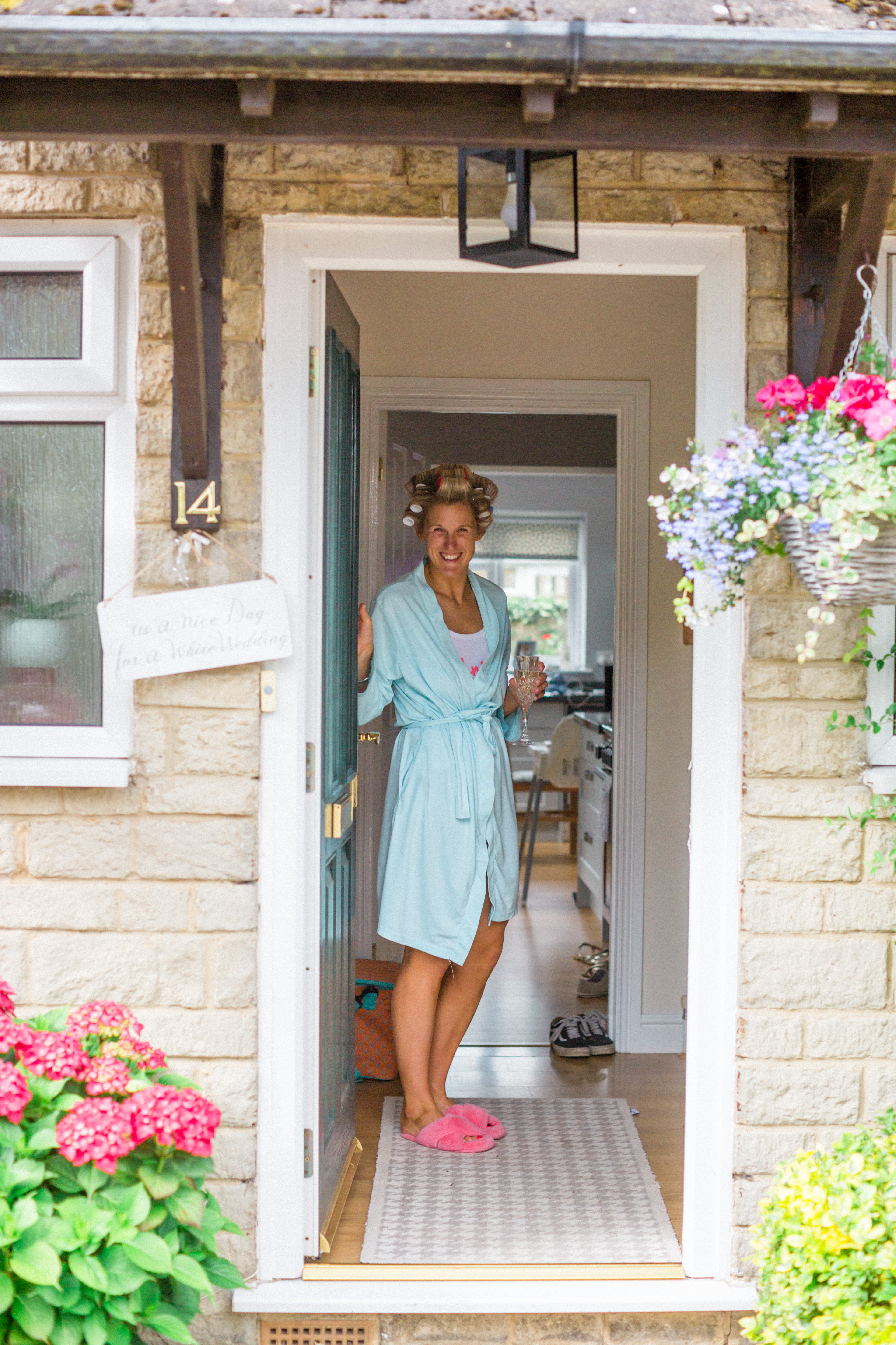 bride greets me at front door gloucestershire wedding day