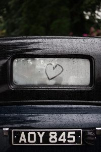 heart in the car gloucestershire wedding