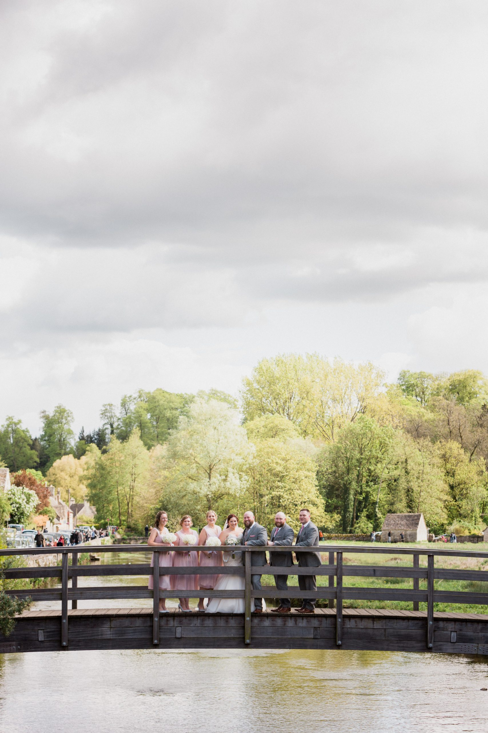 wedding party on bridge Bibury Wedding Photographer