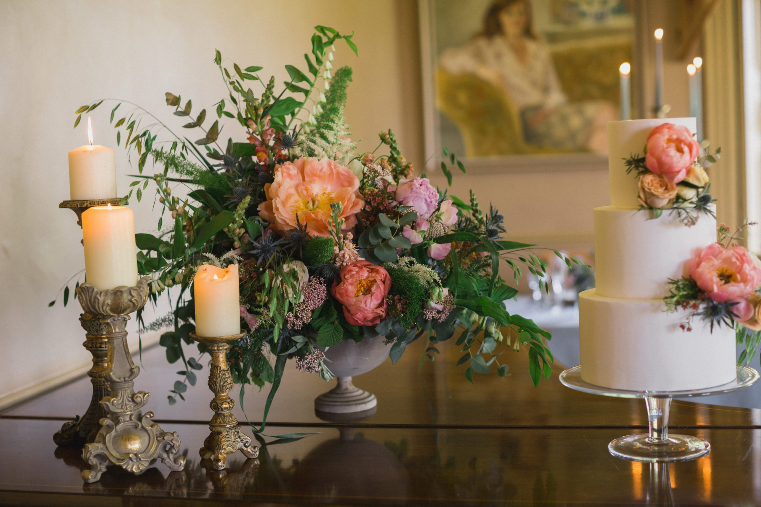 wild and co floral arrangement wedding day Gloucestershire