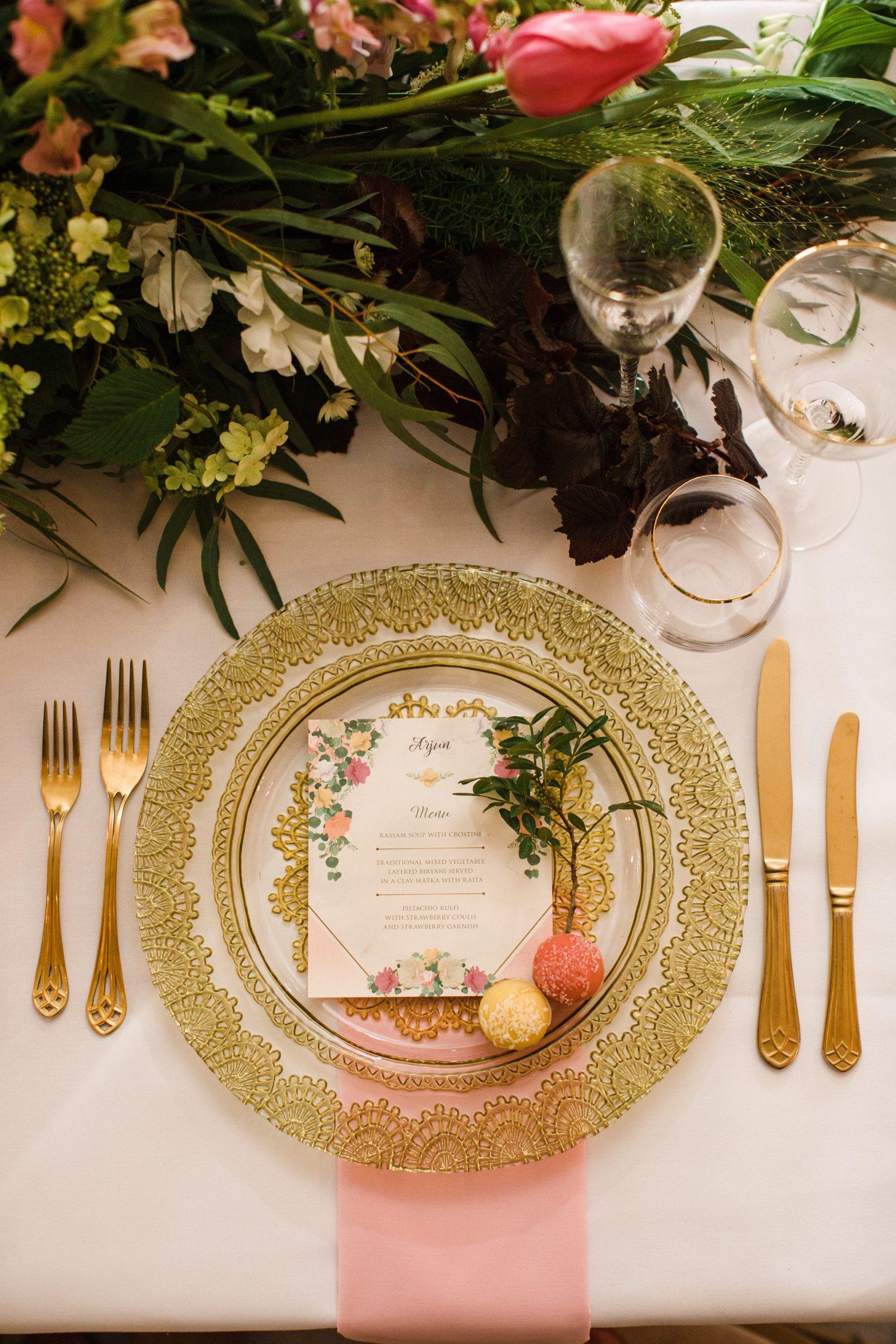 flat lay bliss barfi wedding plate Euridge Manor