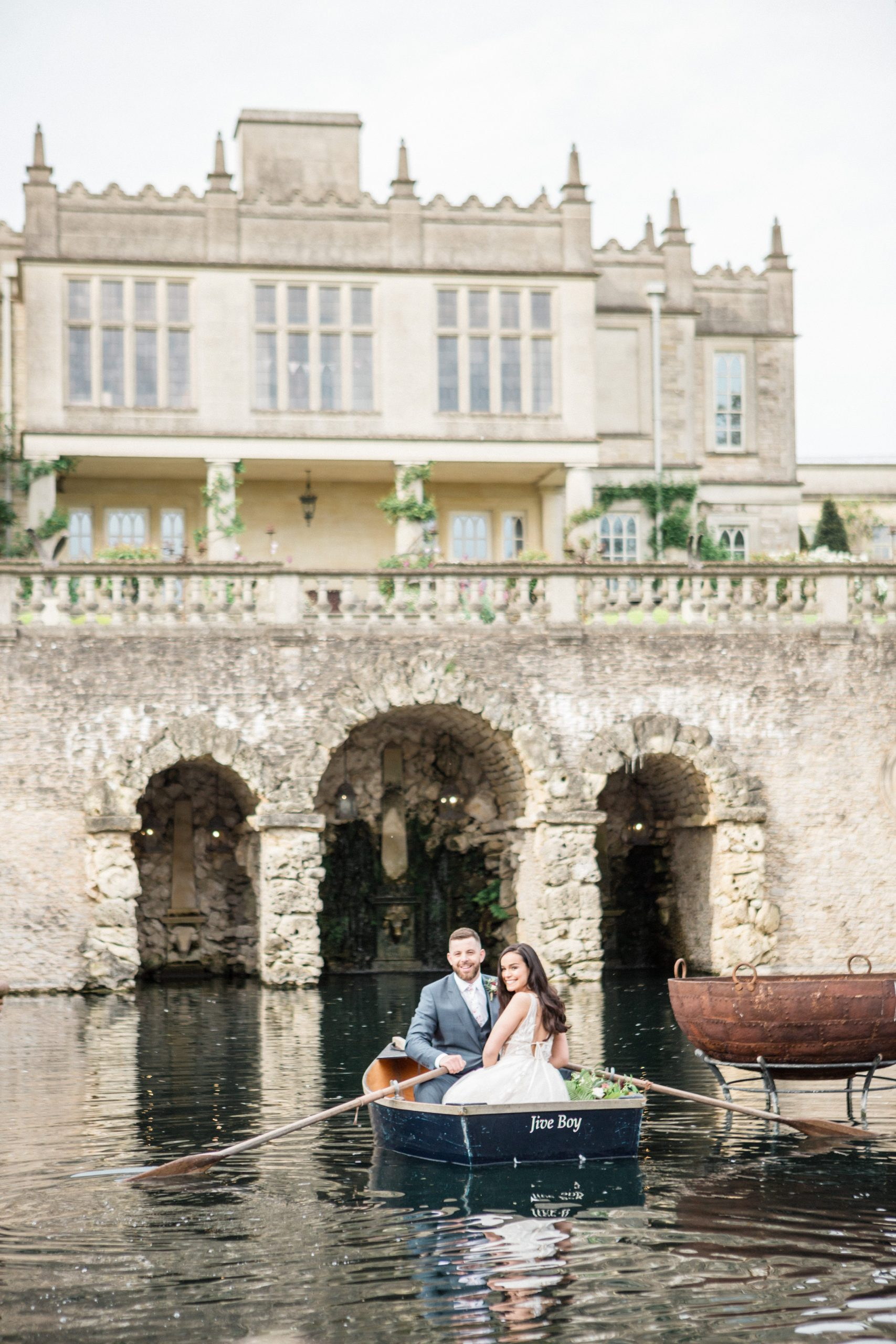 couple in boat Euridge Manor lost orangery