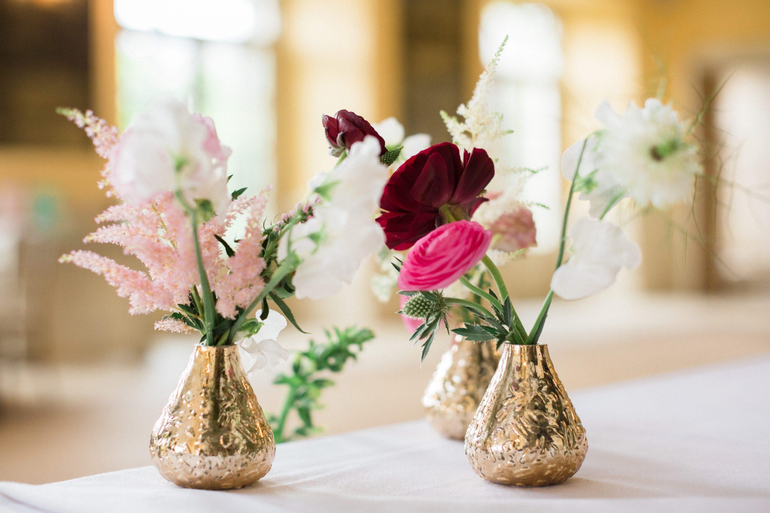 small vases Euridge Manor ball room wedding