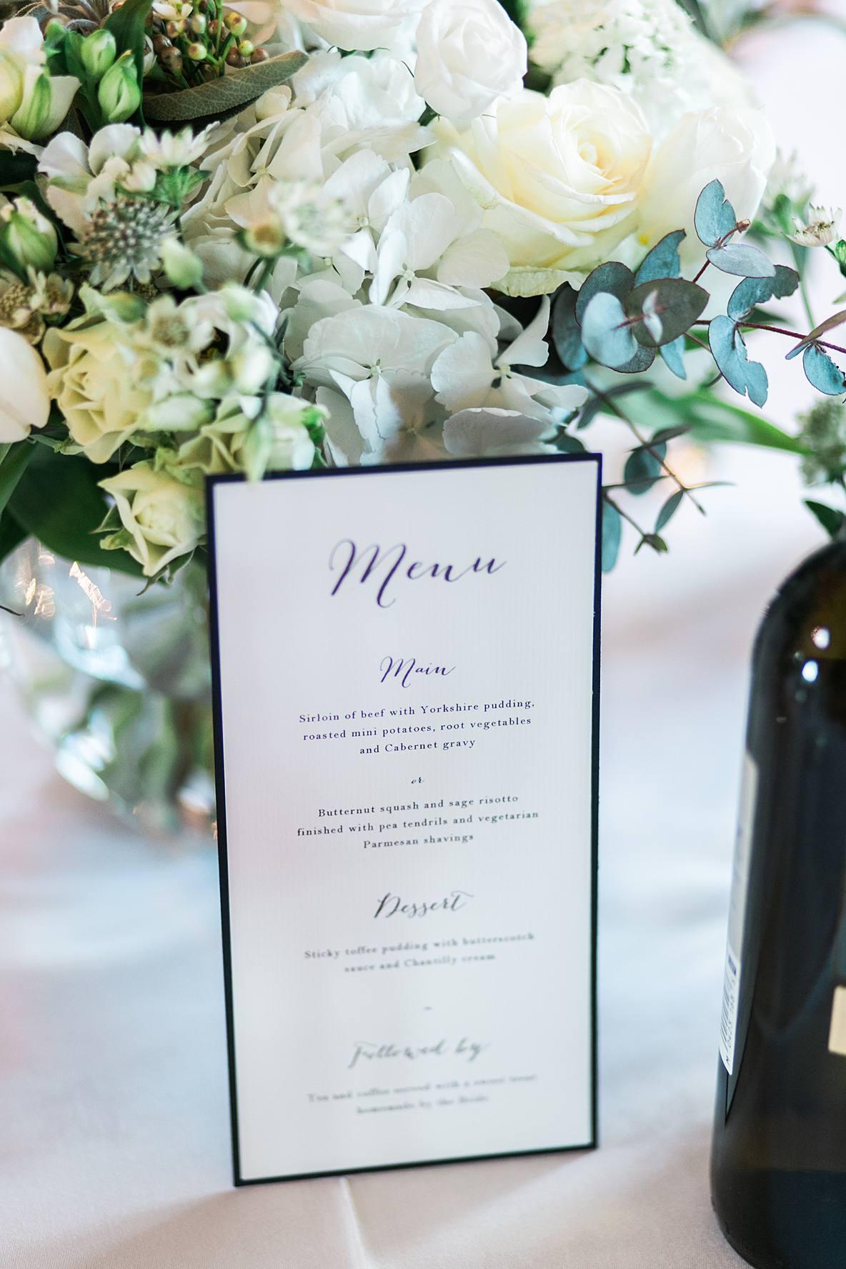 menu Kingscote Barn wedding photography