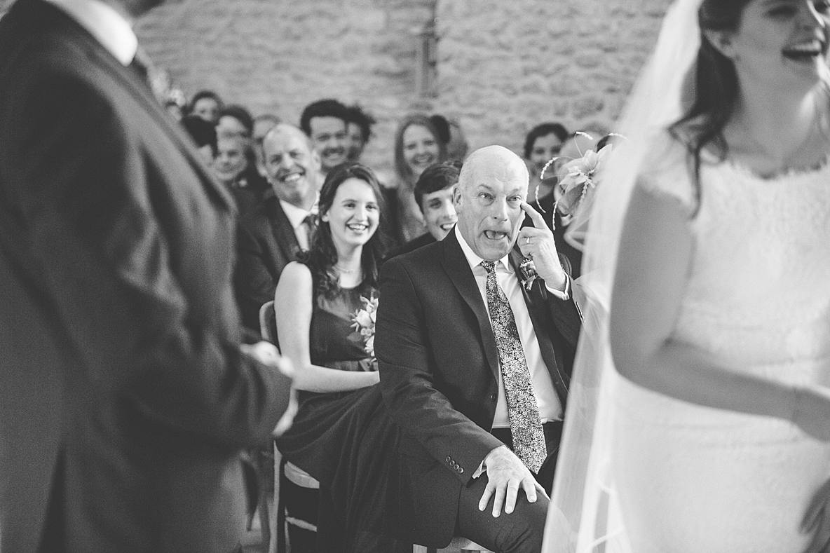 dad crying Kingscote Barn wedding ceremony photography