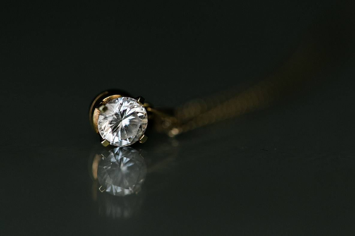 solitaire necklace diamond Kingscote Barn wedding
