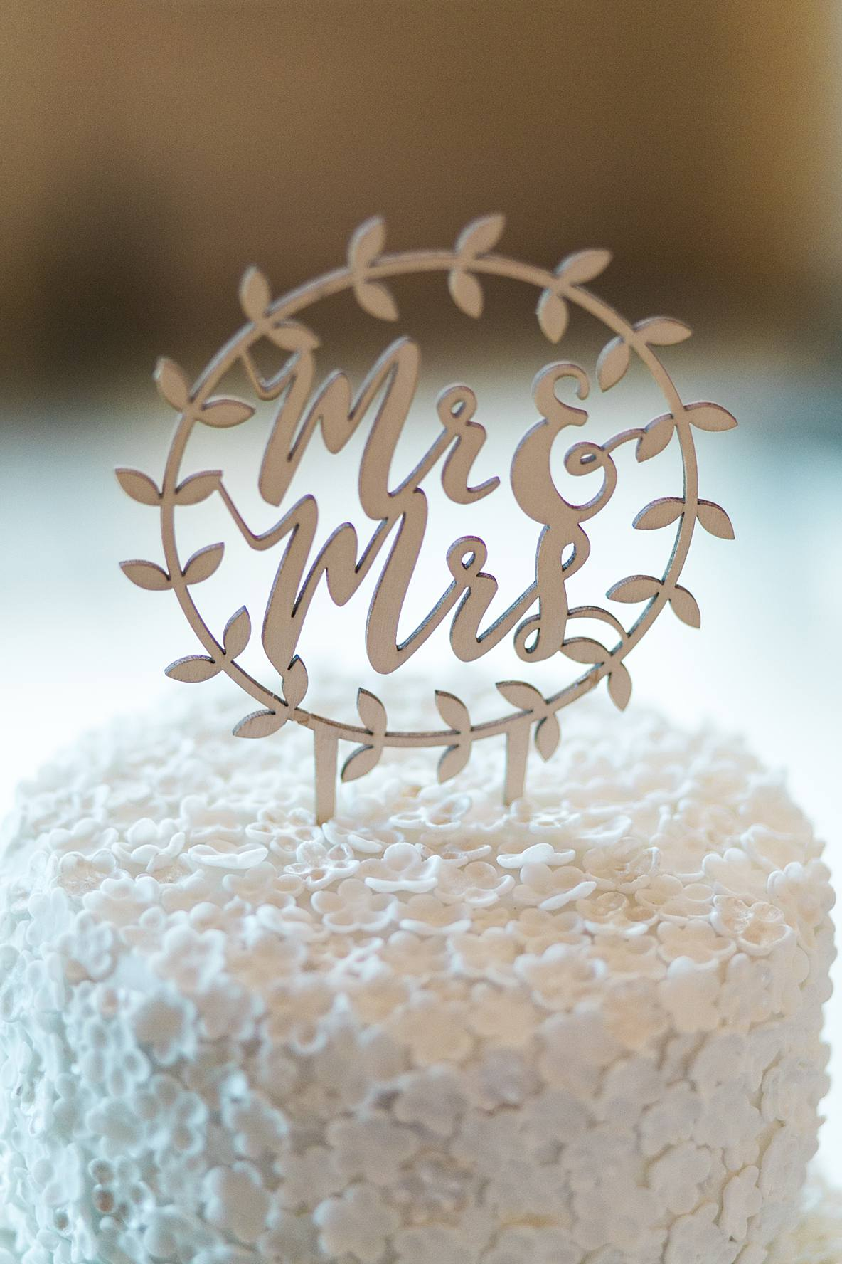 mr and mrs cake sign Kingscote Barn wedding