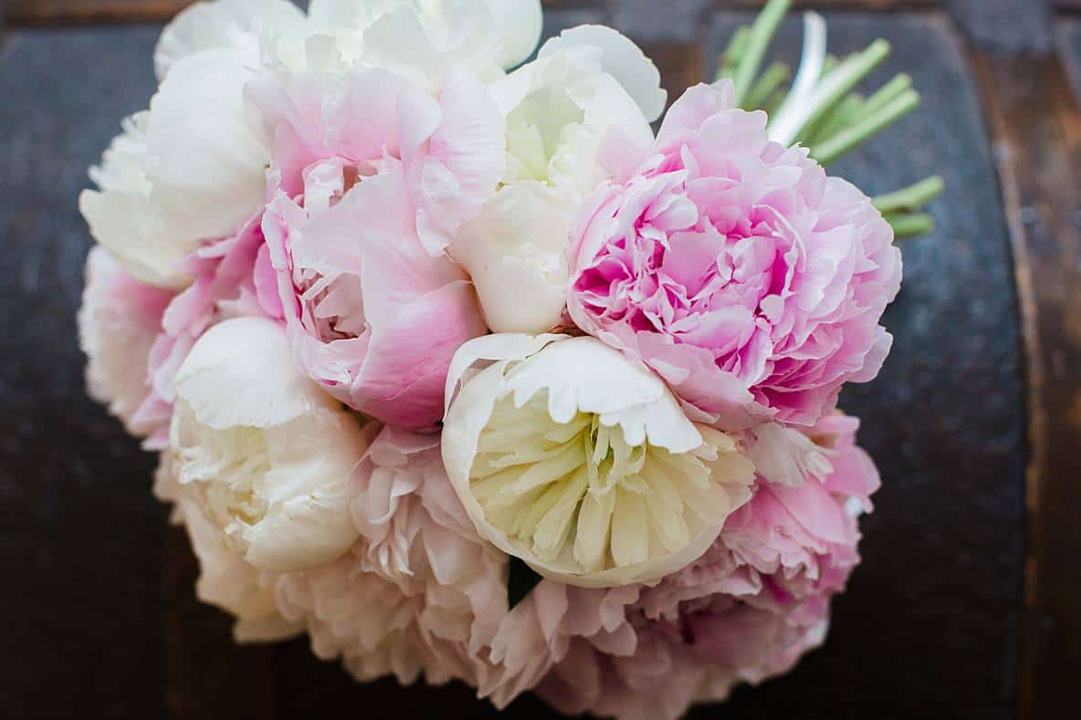pink and white peonies wedding bouquet gloucestershire wedding photographers