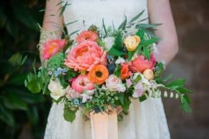 coral wedding bouquet Gloucestershire wedding photographers
