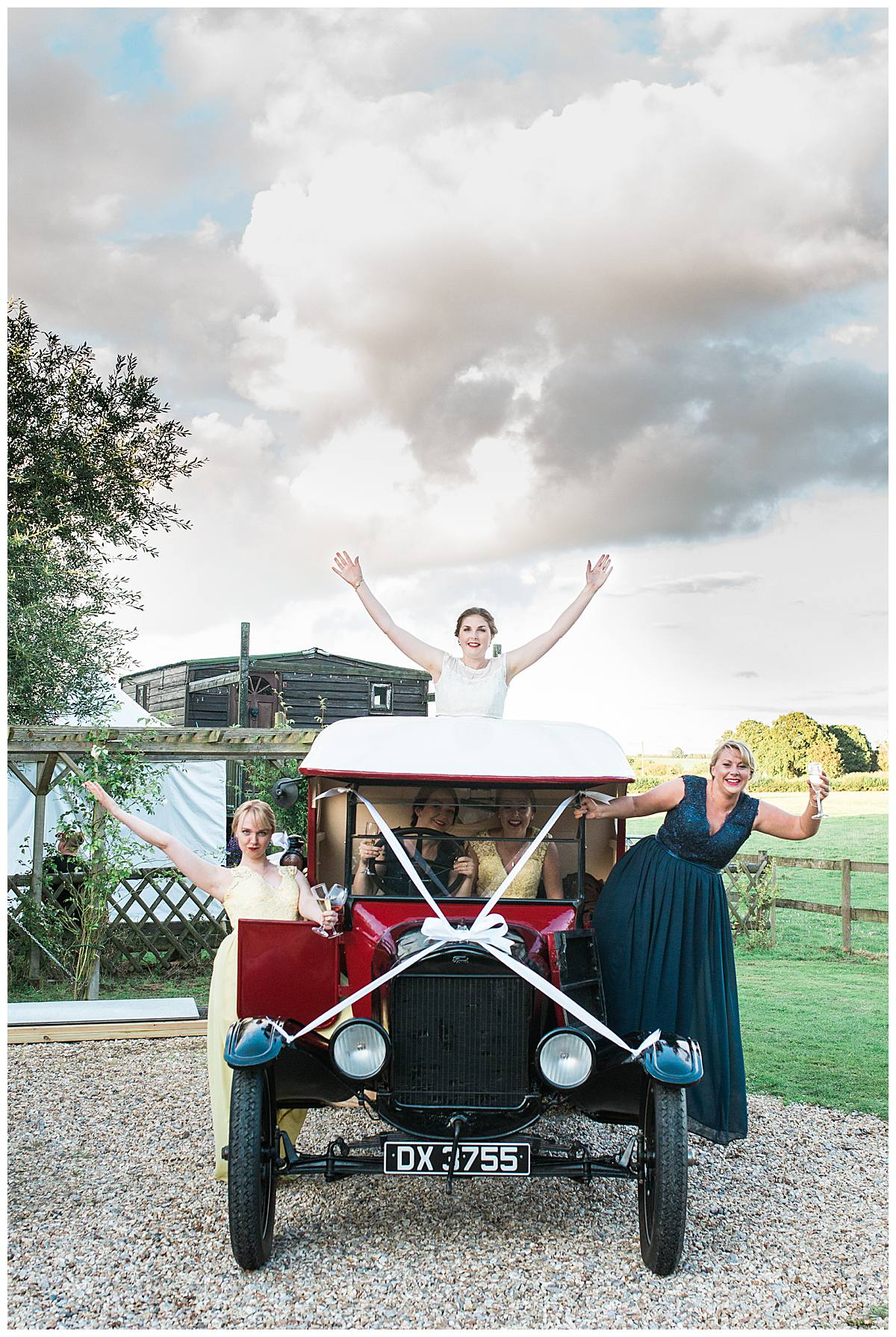 old car and bridal party gloucestershire wedding photography