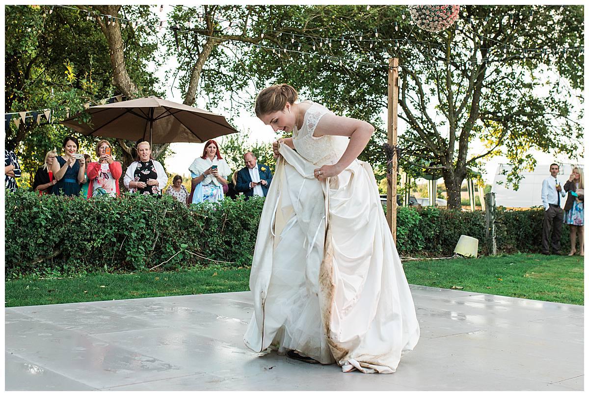 bride wet dress gloucestershire wedding photography