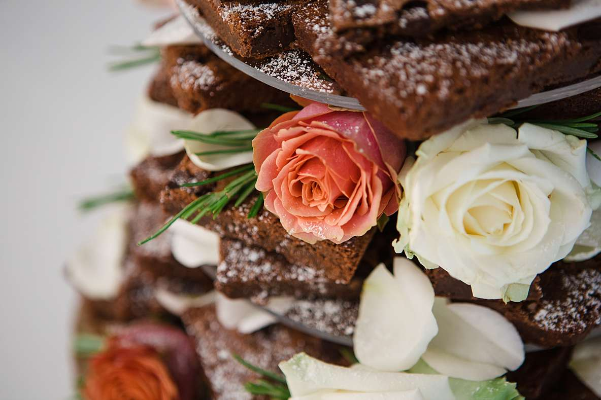 close up brownie wedding cake gloucestershire photographer