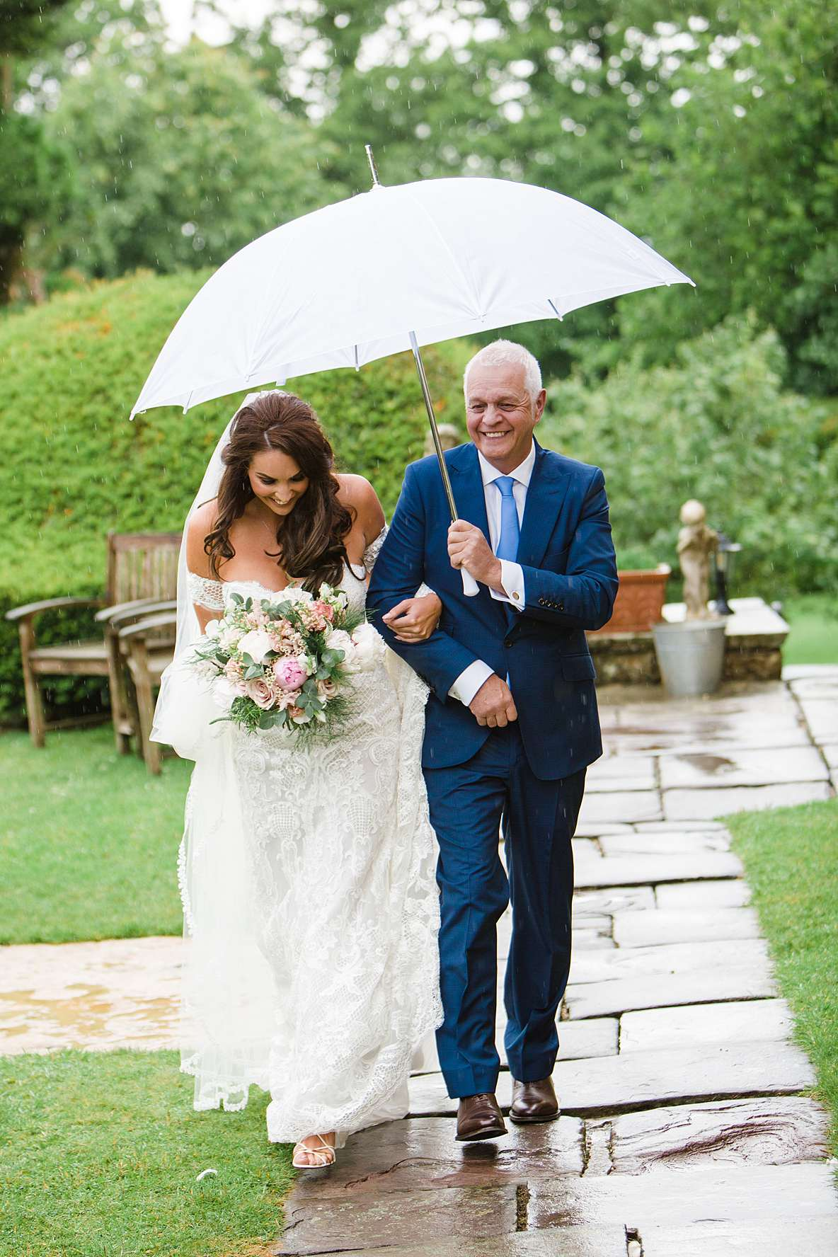 outdoor ceremony bride and dad photography gloucestershire