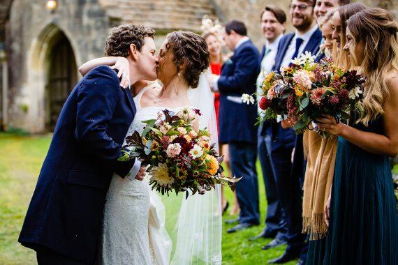 kissing couple micro wedding photographer gloucestershire