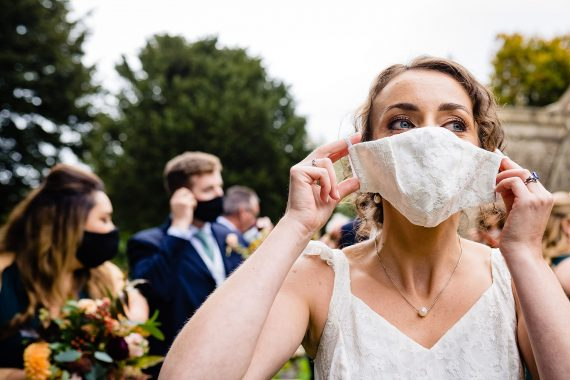 bride and facemask micro wedding photographer gloucestershire