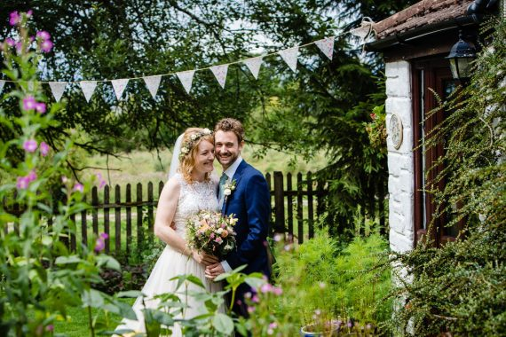 couple in garden micro wedding photographer